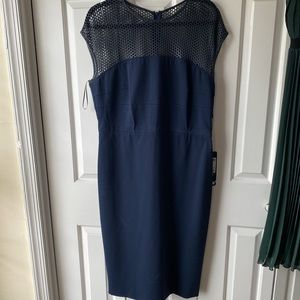Escada Leather Mesh Navy Dress - Size 42/14 - NWT